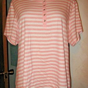 Faded Glory Tops - Pink White Stripe Button Chest Stretch Shirt 2X